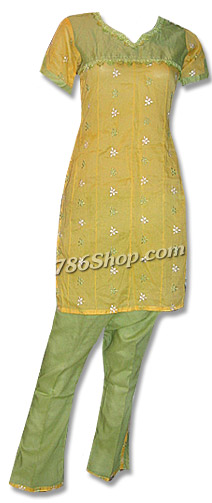 Yellow/Green Cotton Suit | Pakistani Dresses in USA