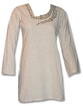 Off white Khaddi Cotton Kurti  | Pakistani Dresses in USA