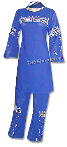 Blue Georgette Trouser Suit | Pakistani Dresses in USA