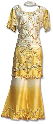 Mustard Satin Silk Trouser Suit  | Pakistani Dresses in USA