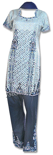 Steel Grey/Navy Blue Jamawar Suit  | Pakistani Dresses in USA