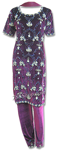 Magenta Velvet Suit | Pakistani Dresses in USA