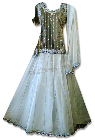 Gray/White Net Organza Lehnga | Pakistani Wedding Dresses