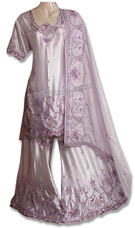 Lilac Satin Silk Sharara   Pakistani Wedding Dresses in USA