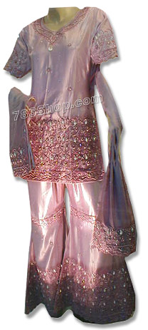 Tea Pink Satin Silk Sharara  | Pakistani Wedding Dresses in USA