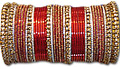 Metallic Bangles - Red/Golden