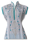 White/Turquoise Cotton Lawn Suit- Pakistani shalwar dress