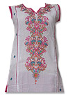 White/Red Cotton Lawn Suit- Indian salwar kameez