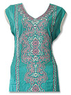 Sea Green/White Cotton Lawn Suit- Indian salwar kameez