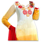 White/Mustard/Red Georgette Suit