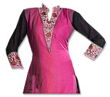 Shocking Pink/Black Georgette Suit