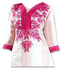 White/Shocking Pink Georgette Suit