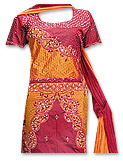 Maroon/Orange Pure Katan Silk Mermaid Lehnga