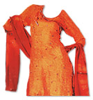 Orange/Red Jamawar Silk Suit