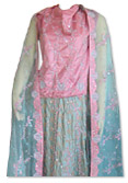 Pink/Light Green Silk Lehnga