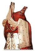 Maroon/Off-white Pure Jamawar Lehnga- Pakistani Bridal Dress