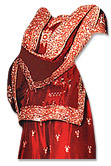 Red Satin Silk Gharara