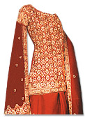 Red Katan Silk Lehnga- Pakistani Wedding Dress