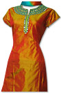 Orange/Green Pure Silk Suit