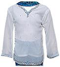 White/Blue Chiffon Suit