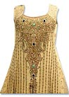 Light Golden Crinkle Chiffon Suit  - Indian Party dress