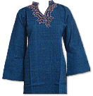 Navy Blue Khaddi Cotton Kurti