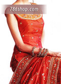 Red Silk Lehnga- Pakistani Party Wear Dress