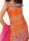 Orange/Hot Pink Chiffon Suit- Pakistani Party Wear Dress
