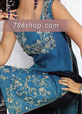 Blue Silk Trouser Suit- Pakistani Party Wear Dress