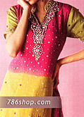 Hot Pink/Yellow Chiffon Suit- Pakistani Formal Designer Dress