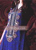 Blue/Golden Crinkle Chiffon Trouser Suit- Pakistani Formal Designer Dress