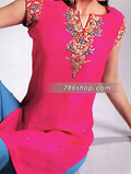 Hot Pink/Blue Silk Suit- Pakistani Party Wear Dress