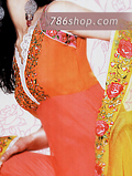 Orange/Pink Chiffon Trouser Suit- Pakistani Party Wear Dress