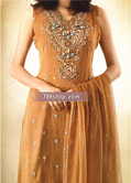 Light Brown Crinkle Chiffon Suit- Pakistani Party Wear Dress