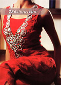 Red Pure Silk Suit- Pakistani Party Wear Dress