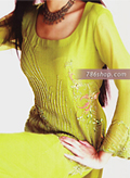 Lime Green Crinkle Chiffon Suit- Pakistani Party Wear Dress