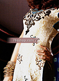 Off-White/Royal Blue Zarri Jamawar Suit- Pakistani Party Wear Dress