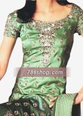 Green Schmooze Silk Suit- Pakistani Formal Designer Dress