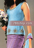 Sky Blue/Purple/Yellow Silk Lehnga- Pakistani Party Wear Dress