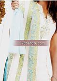 White/Turquoise Crinkle Chiffon Suit- Pakistani Formal Designer Dress