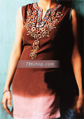 Brown Chiffon Trouser Suit- Pakistani Party Wear Dress
