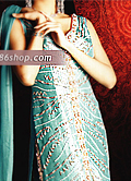 Turquoise Silk Lehnga- Pakistani Bridal Dress