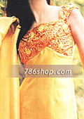 Yellow/Orange Silk Trouser Suit - Pakistani Party Wear Dress