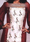 Off-White/Maroon Silk Gharara- Pakistani Party Wear Dress
