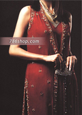 Maroon Chiffon Trouser Suit- Pakistani Formal Designer Dress