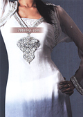 White/Grey Chiffon Suit - Pakistani Party Wear Dress