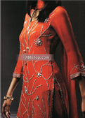 Red Crinkle Chiffon Trouser Suit- Pakistani Formal Designer Dress