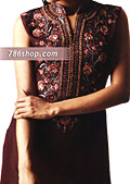 Dark Brown/Hot Pink Silk Suit- Pakistani Party Wear Dress