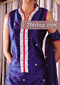 Blue Silk Trouser Suit- Pakistani Formal Designer Dress
