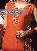 Orange/Maroon Crinkle Chiffon Suit- Pakistani Formal Designer Dress